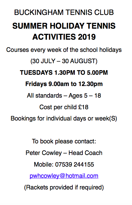 junior coaching courses summer 2019
